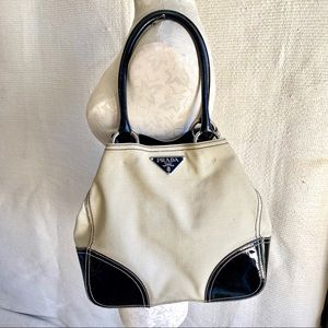 Prada Vintage 90s Patent Leather Canvas Tote Bag